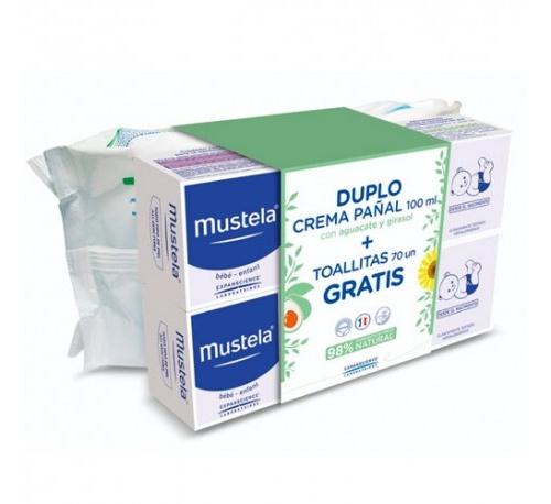 Mustela pack duplo crema pañal 100ml + toallitas regalo