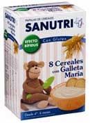 SANUTRI PAPILLA 8 CEREALES CON GALLETA MARIA - FOS CON GLUTEN (2 BOLSAS 300 G)